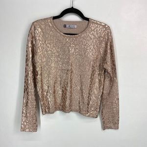 Jennifer Lopez long sleeve metallic animal crop